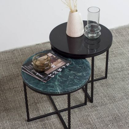 Side table Margaux - Green Marble Tabletop - Ø50cm