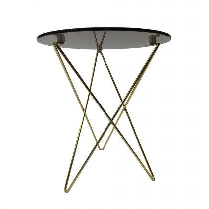Glass Side table - August - Brown Glass/Gold - 45x45x52cm
