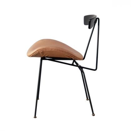 Leather dining chair - Julia - Cognac Leather/Black