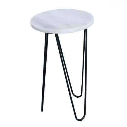 Side table Kay - White Marble - 30x30x50cm
