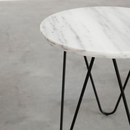Side table Kay - White Marble - 40x40x40cm