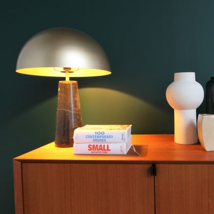 Gold Lamp with marble base - Merit - Gold/Black Marble