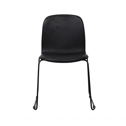 Dining chair - Cedric - Black Leather/Canvas