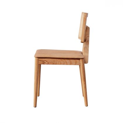 Dining chair with rattan backrest - Charles - Oak/Natural Rattan - Cognac Leather