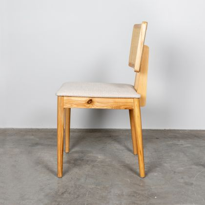 Dining chair with rattan backrest - Charles - Oak/Natural Rattan - Off-white
