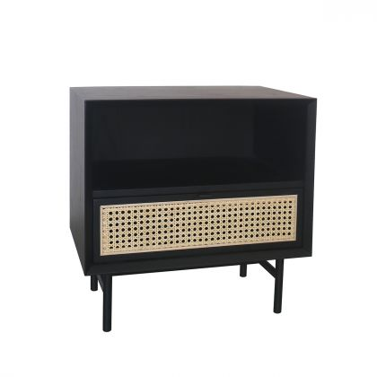 Retro Nightstand with wicker - Provence - Black/Natural Rattan