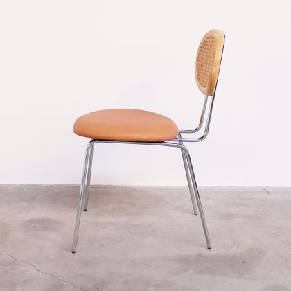 Retro Dining chair with Wicker backrest - Cognac Leather - Dublin