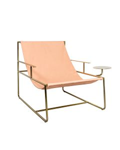 Design Relaxstoel - Tim - Roze Canvas/Goud